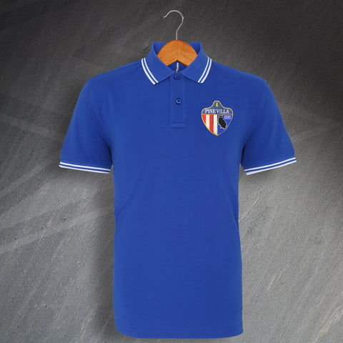 Oldham Football Polo Shirt Embroidered Tipped Pine Villa