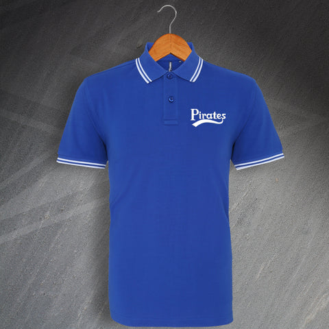 Bristol Rovers Football Polo Shirt Embroidered Tipped Pirates
