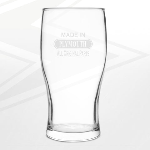 Plymouth Pint Glass Engraved Made in Plymouth All Original Parts