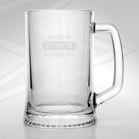 Plymouth Glass Tankard Engraved Made in Plymouth All Original Parts