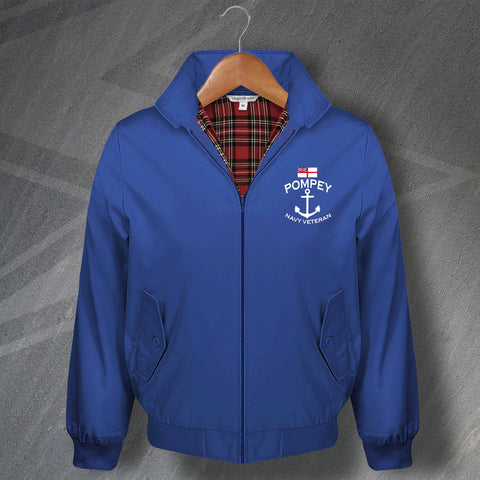 Portsmouth Football Harrington Jacket Embroidered Pompey Navy Veteran