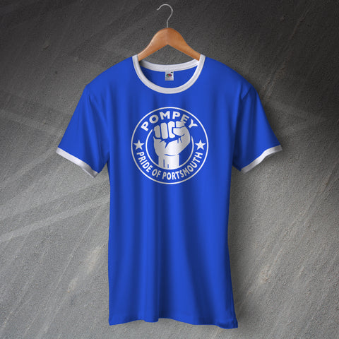 Portsmouth Football Shirt Printed Ringer Pompey Pride of Portsmouth