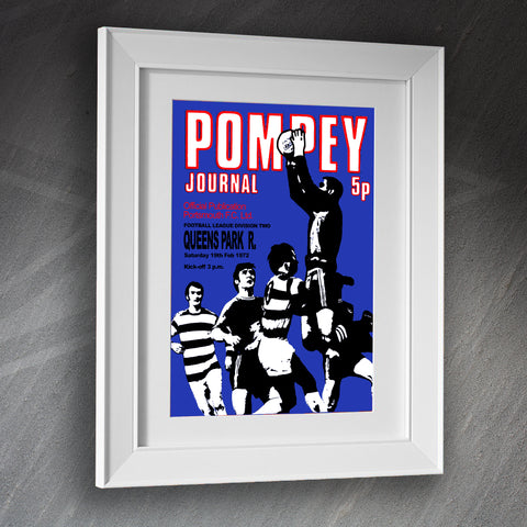 Portsmouth Football Framed Print Programme Portsmouth vs QPR 1972