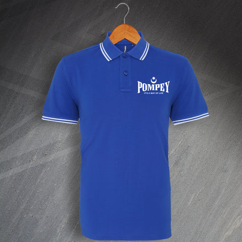 Portsmouth Football Polo Shirt Embroidered Tipped Pompey It's a Way of Life