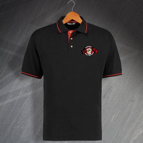 Kettering Football Polo Shirt Embroidered Contrast Poppies Keep The Faith