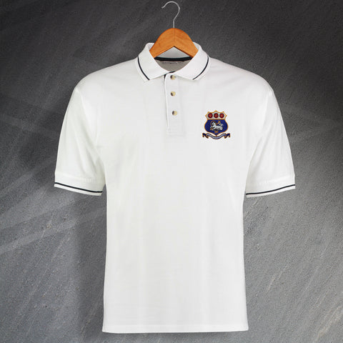 Retro Preston 1900s Embroidered Contrast Polo Shirt