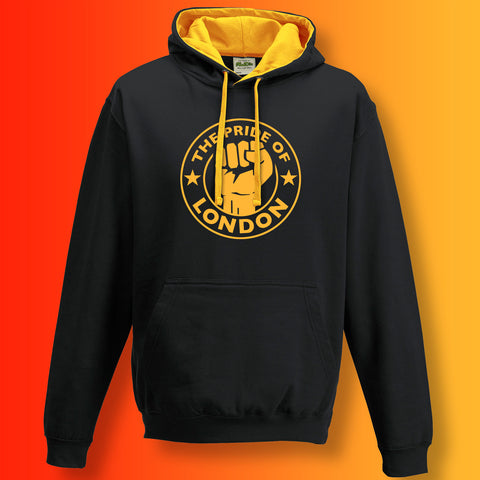 The Pride of London Contrast Hoodie Black Gold
