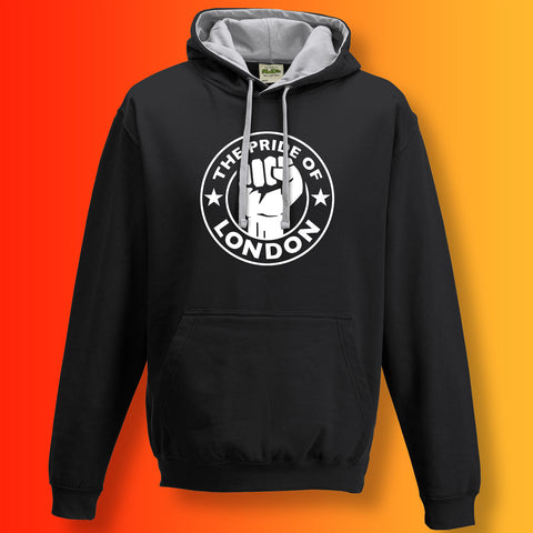 The Pride of London Contrast Hoodie Black Grey