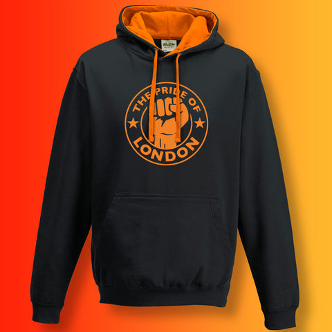 The Pride of London Contrast Hoodie Black Orange
