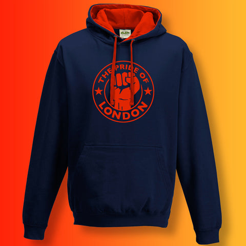 The Pride of London Contrast Hoodie Navy Flame Red