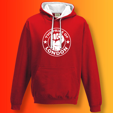 The Pride of London Contrast Hoodie Red White