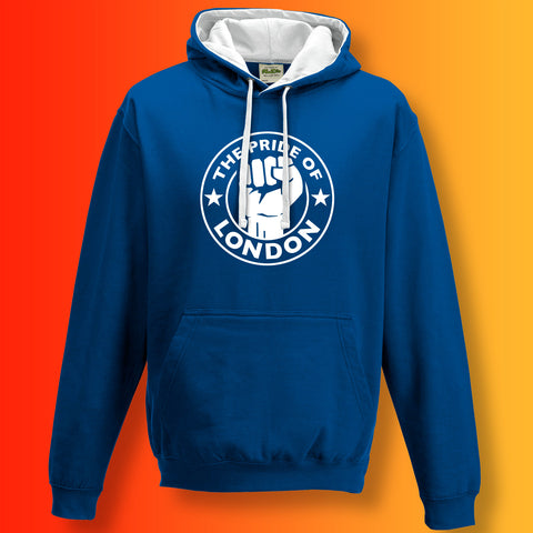 The Pride of London Contrast Hoodie Royal Blue White