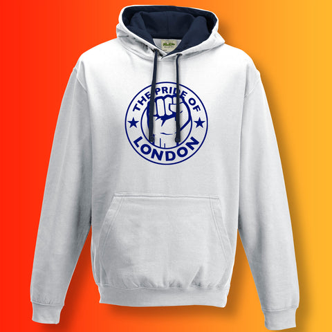 The Pride of London Contrast Hoodie White French Navy