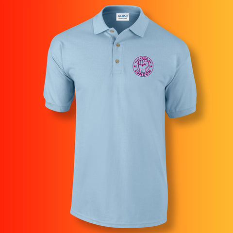 The Pride of London Polo Shirt Light Blue Burgundy