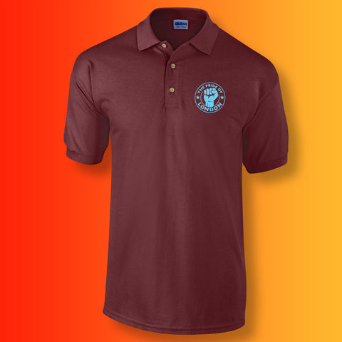 The Pride of London Polo Shirt Maroon Light Blue