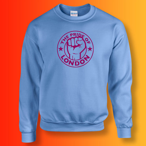 The Pride of London Sweater Carolina Blue Burgundy