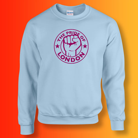 The Pride of London Sweater Light Blue Burgundy