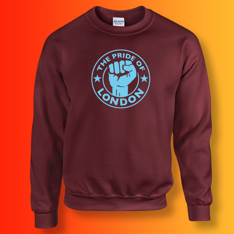 The Pride of London Sweater Maroon Sky Blue
