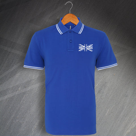 Portsmouth Football Polo Shirt Embroidered Tipped Union Jack Pride of The South