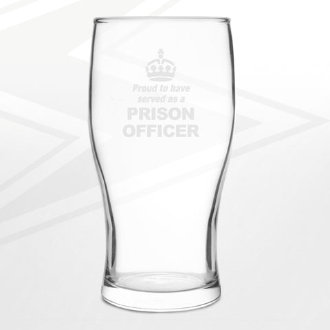 Prison Service Pint Glass Engraved Proud to Have Served as a Prison Officer Crown