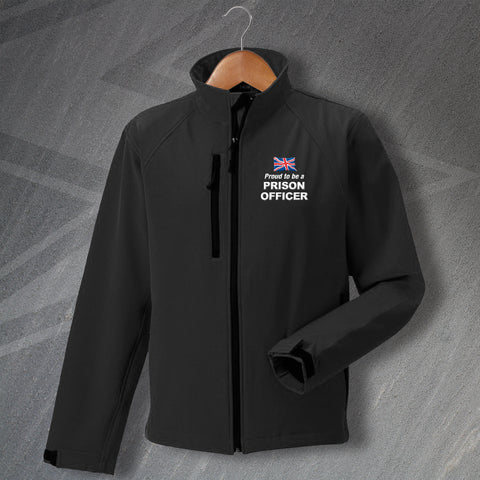 Prison Service Jacket Embroidered Softshell Proud to Be a Prison Officer Union Jack