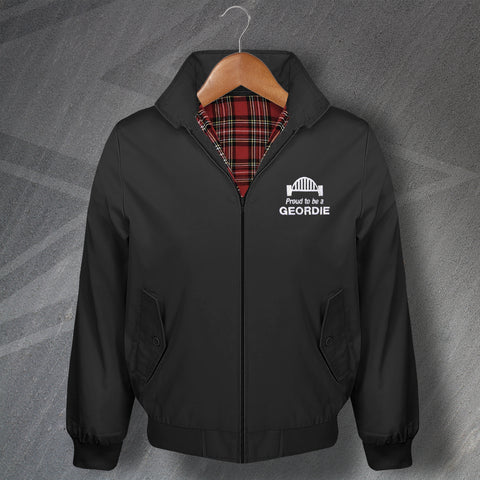 Newcastle Harrington Jacket Embroidered Proud to Be a Geordie