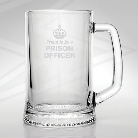 Prison Service Glass Tankard Engraved Proud to Be a Prison Officer Crown