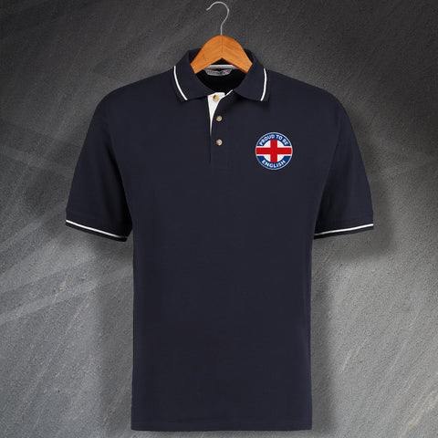 England Polo Shirt Embroidered Contrast Proud to Be English