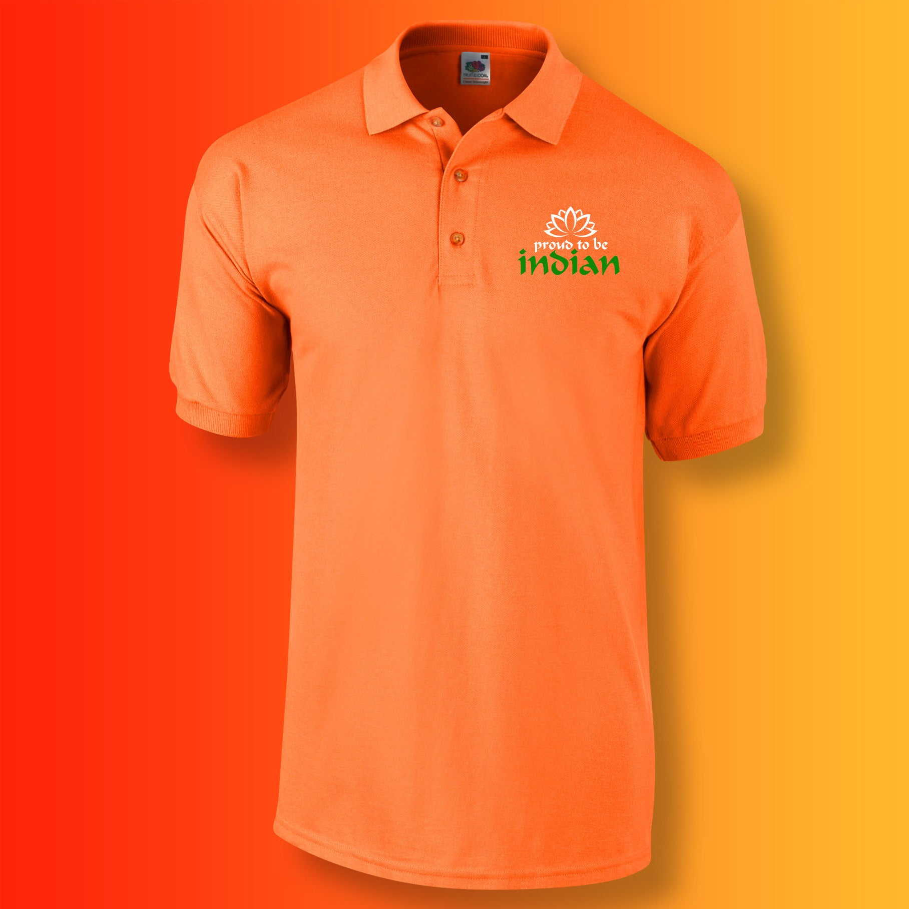 d8ea5baa0 Proud to Be Indian Polo Shirt Orange. All Images and Content Copyright ©  Sloganite.com