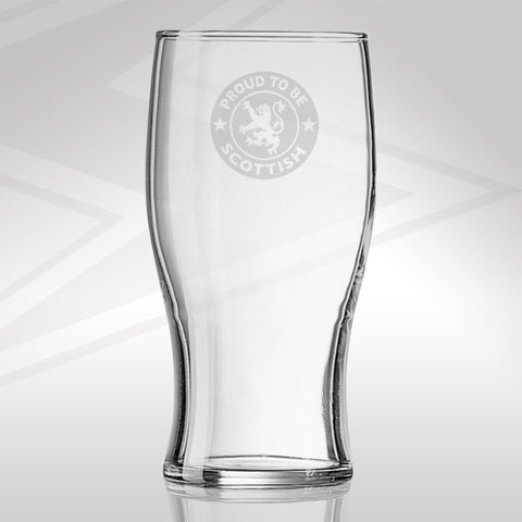 Proud to Be Scottish Engraved Beer Glass