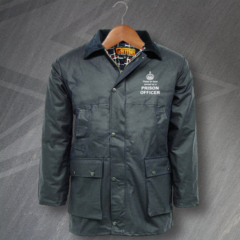 Prison Service Wax Jacket Embroidered Padded Proud to Have Served as a Prison Officer Crown