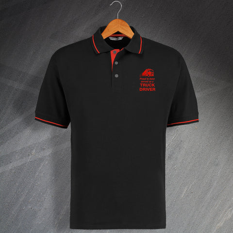Proud to Have Served as a Truck Driver Embroidered Contrast Polo Shirt