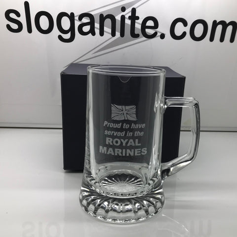 Royal Marines Glass Tankard Engraved Proud to Have Served