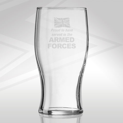 Proud to Have Served In The Armed Forces Engraved Beer Glass