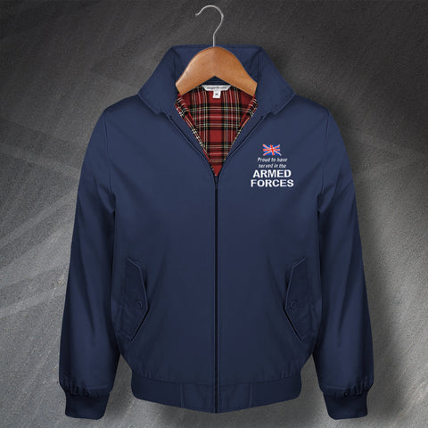 Armed Forces Harrington Jacket Embroidered Proud to Have Served