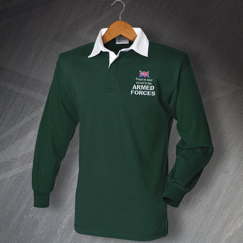 Armed Forces Rugby Shirt Embroidered Long Sleeve Proud to Have Served