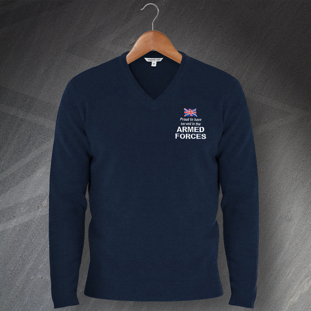 Armed Forces Embroidered V-Neck Jumper