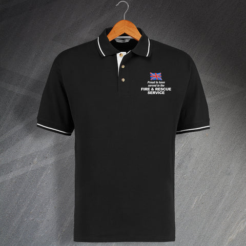 Fire Service Polo Shirt Embroidered Contrast Proud to Have Served in The Fire and Rescue Service