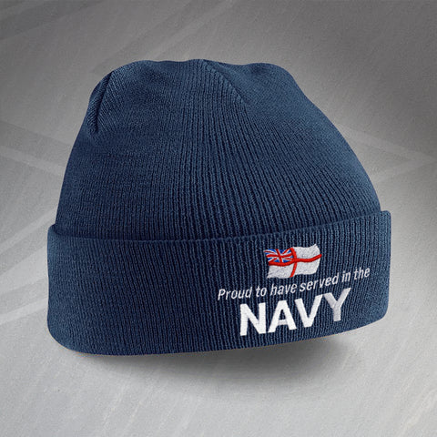 Proud to Have Served In The Navy Embroidered Beanie Hat