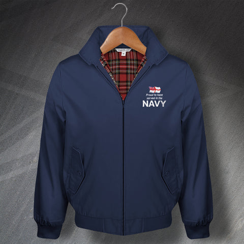 Proud to Have Served In The Navy Embroidered Classic Harrington Jacket