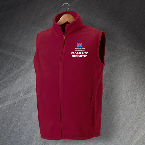 Parachute Regiment Gilet Embroidered Fleece Proud to Have Served