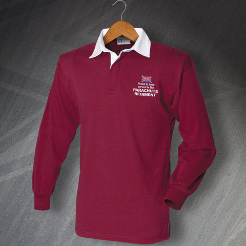Parachute Regiment Rugby Shirt Embroidered Long Sleeve Proud to Have Served