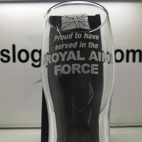 RAF Pint Glass Engraved Proud to Have Served