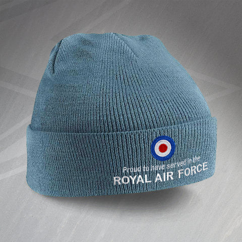 Proud to Have Served In The Royal Air Force Embroidered Beanie Hat
