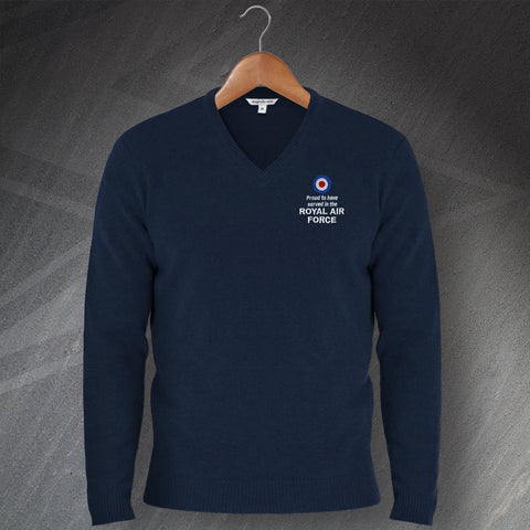Proud to Have Served In The Royal Air Force Embroidered V-Neck Jumper