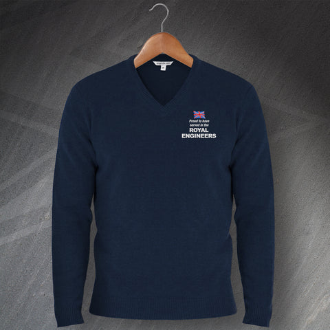 Proud to Have Served In The Royal Engineers Embroidered V-Neck Jumper
