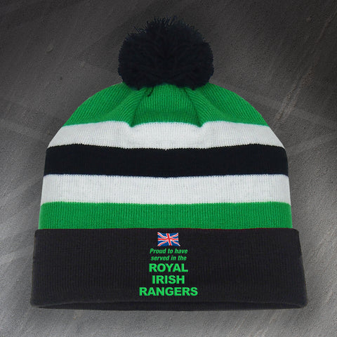 Royal Irish Rangers Bobble Hat Embroidered Proud to Have Served