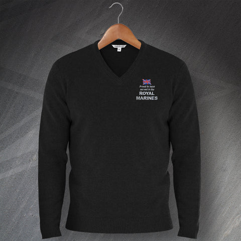 Proud to Have Served In The Royal Marines Embroidered V-Neck Jumper