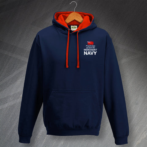 Merchant Navy Hoodie Embroidered Contrast Proud to Have Served