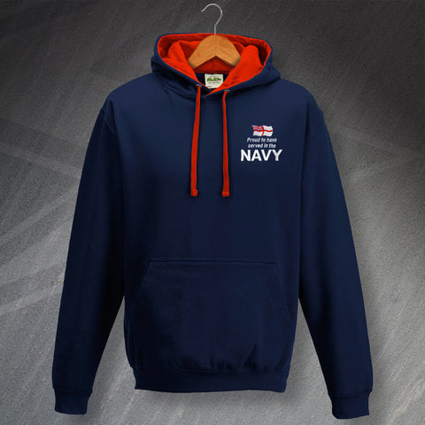Proud to Have Served In The Navy Embroidered Contrast Hoodie